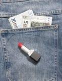 Jeans pocket money Stock Images