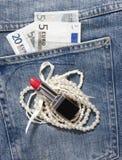 Jeans pocket money Stock Photos