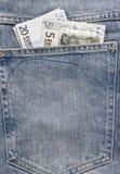 Jeans pocket money Royalty Free Stock Image