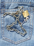 Jeans pocket and padlock Royalty Free Stock Images