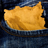Jeans pocket with paper Royalty Free Stock Photography