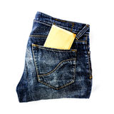 Jeans pocket with paper Royalty Free Stock Image