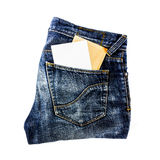 Jeans pocket with paper Stock Photos