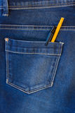 jeans pocket with pen and pencil Royalty Free Stock Image