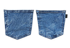 Jeans pocket. Set of different jeans pocket on white stock photography