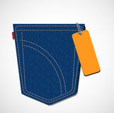 Jeans pocket with tag Stock Images