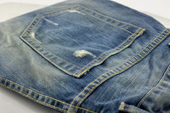 Jeans pocket tear Stock Photo