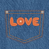 Jeans pocket with text love Royalty Free Stock Photos