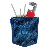 Jeans pocket with tools Royalty Free Stock Photo