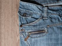 Jeans pocket and zipper Stock Photos