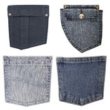 Jeans pockets. Blue jeans pockets isolated on white background, set royalty free stock images
