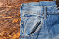 Jeans pockets. аbstract background of shabby and worn jeans. Horizontal photo Royalty Free Stock Photo