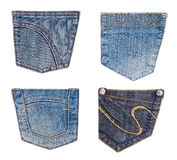 Jeans pockets collection isolated on white Stock Photo