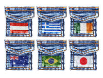 Jeans pockets with flags of Austria,Greece,Ireland,Australia,Brazil,Japan Royalty Free Stock Photos