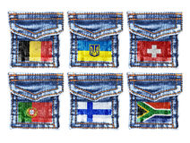Jeans pockets with flags Belgium,Ukraine,Switzerland,Portugal,Finland,South Africa Stock Photo