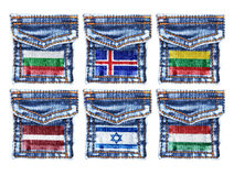 Jeans pockets with flags of Bulgaria,Iceland,Lithuania,Latvia,Israel,Hungary Royalty Free Stock Image