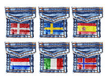 Jeans pockets with flags of Denmark,Sweden,Spain,Holland,Italy,Norway Royalty Free Stock Photography