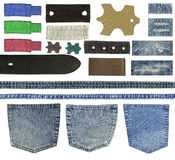 Jeans pockets, labels. Blank leather jeans labels, pockets, straps isolated on white background Stock Photos