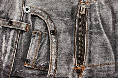 Jeans pockets and zipper Royalty Free Stock Photography