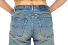 Jeans rear view arms. Rear body part with faded blue jeans on, arms in pockets. Isolated on white, clipping path included Royalty Free Stock Photo