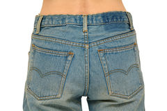 Jeans rear view. Rear body part with faded blue jeans on. Isolated on white, clipping path included Stock Photos