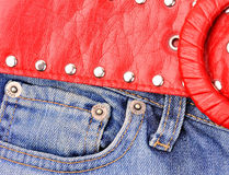 Jeans with red belt Stock Photo