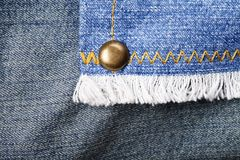 Jeans rivet seam closeup Royalty Free Stock Photography