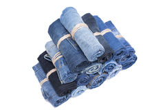 Jeans roll stack Stock Photos