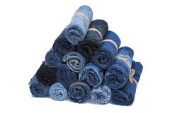 Jeans roll stack Stock Photography
