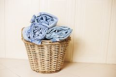 Jeans rolled for laundry royalty free stock photography