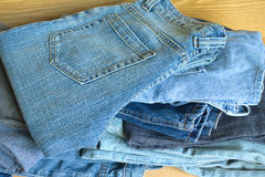 Jeans on sale. Front view close-up Stock Image