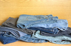 Jeans on sale. Front view close-up Stock Photo