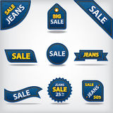 Jeans sale labels and stickers Stock Image