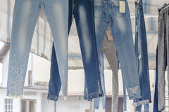 Jeans on sale at the local market. Stock Images