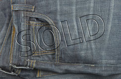Jeans sale tag discount Royalty Free Stock Photo