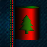 Jeans seam with christmas tree tab Royalty Free Stock Photos