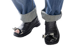 Jeans and shoes on white Stock Images