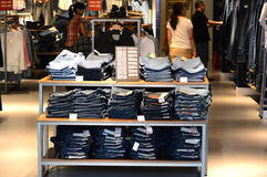 Jeans shop. A jeans shop at Florentia Village  Tianjin China photoed in October 2013 Royalty Free Stock Image