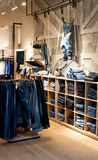 Jeans shop. Interior of modern jeans shop Stock Photos