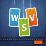 Jeans Shopping 3 Price Stickers WSV Orange Stock Photo