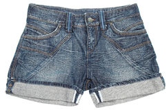 Jeans shorts. On a white background Royalty Free Stock Photos