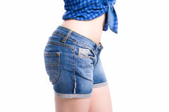 Jeans shorts closeup side view Royalty Free Stock Photography