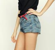 Jeans shorts, fashion model Royalty Free Stock Photography