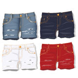 Jeans shorts. Vector. Stock Photo