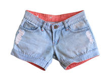 Jeans shorts. Women jeans shorts isolated on white background Stock Image