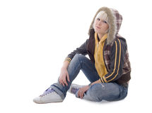 Jeans Sitting Girl in the Hood Stock Photos