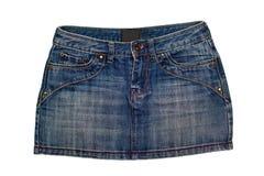 Jeans Skirt. Blue denim short skirt isolated on white background Royalty Free Stock Photo