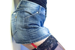 Jeans skirt closeup Royalty Free Stock Photo
