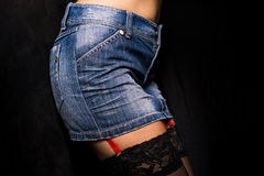 Jeans skirt closeup Royalty Free Stock Image