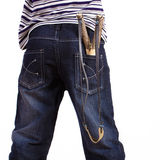 Jeans with a slingshot in his pocket Royalty Free Stock Photo